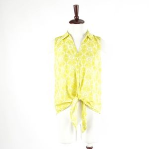 ANN TAYOR – Lime Green Sleeveless Top – M